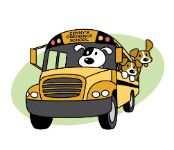 Dog in School Bus