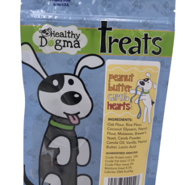A delicious delight after your dog's own heart. Your pooch is sure to go nuts for these tail-wagging, heart-shaped treats. Healthy Dogma's Peanut Butter Carob Hearts are made with real-food ingredients that you can feel good about giving to your dog.  Ingredients: Oat Flour, Rice Flour, Coconut Glycerin, Peanut Flour, Molasses, Brewer's Yeast, Carob Powder, Canola Oil, Vanilla, Peanut Butter, Lactic Acid