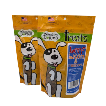 Healthy Dogma Beef, Bacon & Molasses Dog Treats  Net Weight: 6oz Ingredients: Chickpea Flour, Canola Oil, Beef, Bacon, Molasses, Parsley