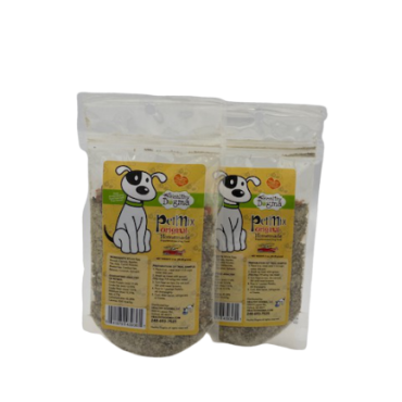 PetMix Original Homemade Dog Food Trial Pouch  Net Weight: 3oz Ingredients: Whole Egg, Broccoli, Carrots, Apples, Flax, Kelp, Carrot Powder, Blueberries, Cranberries, Bananas, Coconut, Spinach
