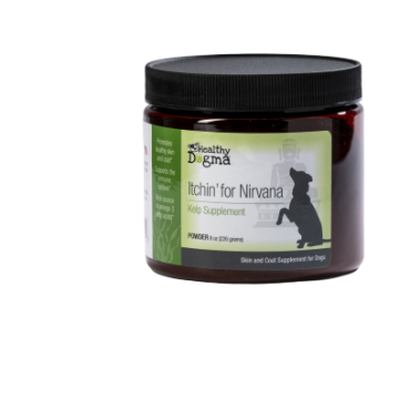 Itchin' For Nirvana Kelp Supplement  Net Weight: 8oz Proprietary blend of: Kelp, flaxmeal, bee pollen, yeast, garlic, fish oil  Promotes healthy skin and coat Supports the immune system Rich source of Omega-3 fatty acids