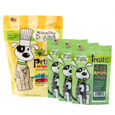 -Offered For ALimited Time Only- Healthy Dogma's St. Patrick's Day Bundle $24.95  Lucky you! We know exactly what your pooch will love.  This bundle includes: (3) 6oz bags of Healthy Dogma Duck & Pork Sticks (1) 2lb bag of PetMix Original Homemade Dog Food  Get this bundle before it's gone!