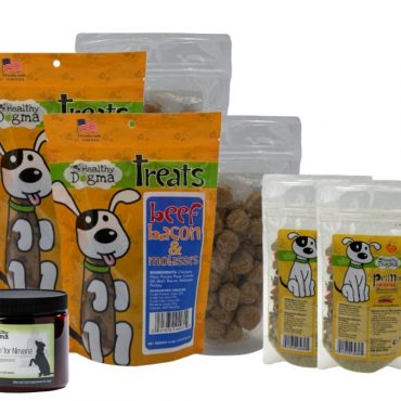 Healthy Dogma March Monthly Bargain Box  What's inside: 2- 6oz bags of Healthy Dogma Beef, Bacon & Molasses Dog Treats 2- Trial packs of Healthy Dogma PetMix Original Dog Food 2- 8oz bags of Peanut Butter Blueberry Bits  (oops, we made too many!) 1- Itchin' For Nirvana Kelp Supplement